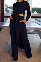 Black Cottton Blend Round Neck Loose Slit Long T-Shirts Wide Leg Pants Solid Color Sets OH8090-2
