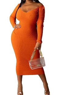 Orange Euramerican Women Autumn Winter V Collar Off Shoulder Solid Color Ribber Bodycon Sexy Long Dress Q951-4