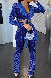 Blue Women Korea Velvet Ruffle Drawsting Sexy V Collar Pure Color Crop Pants Sets XQ1147-4
