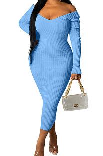 Light Blue Euramerican Women Autumn Winter V Collar Off Shoulder Solid Color Ribber Bodycon Sexy Long Dress Q951-6