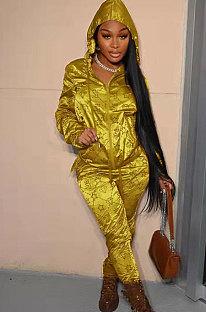 Gold Yellow Fashion Casual Print Long Sleeve Hoodie Pencil Pants Reflective Sets TK6200-1