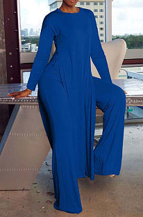 Blue Cottton Blend Round Neck Loose Slit Long T-Shirts Wide Leg Pants Solid Color Sets OH8090-3