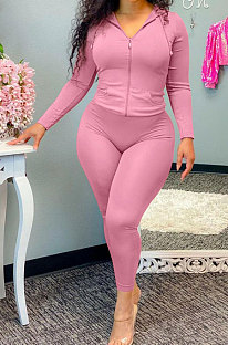 Pink Wholesale Casual Long Sleeve Zip Front Hooded Coat Pencil Pants Sport Sets OH8091-3