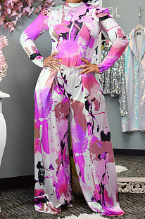 Pink Purple Women Autumn Winter Long Sleeve T Shirts Wide Leg Pants Printing Pants Sets RMH8944-8