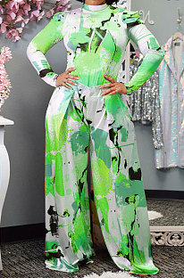 Green Women Autumn Winter Long Sleeve T Shirts Wide Leg Pants Printing Pants Sets RMH8944-4