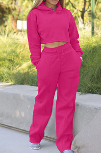 Rose Red Casual Sport Long Sleeve Hoodie Wide Leg Pants Solid Color Loose Sets FH173-3
