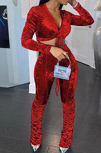 Wine Red Women Korea Velvet Ruffle Drawsting Sexy V Collar Pure Color Crop Pants Sets XQ1147-1