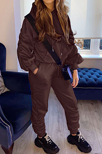 Coffee Casual Sport Long Sleeve Pocket Hoodie Sweat Pants Ruffle Solid Color Sets HG139-3