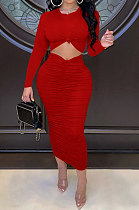 Red Euramerican Women Autumn Bodycon Tops Solid Color Ruffle Hip Sexy Skirts Sets Q960-2