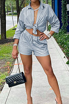 Silver  Modest Pure Color Long Sleeve Lapel Neck Single-Breasted Shirts Shorts Sets N9304-3
