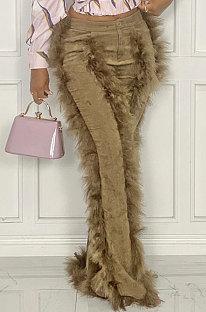 Khaki Women Autumn Winter Corduroy Rough Selvedge Mid Waist Solid Color Flare Leg Pants MLM9078-2