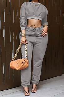 Gray Women Trendy Casual Solid Color Crop Bodycon Pants Sets AMW8336-1