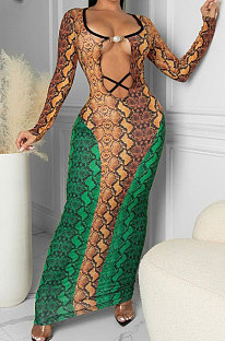 Green Blue Sexy Snakeskin Print Long Sleeve Hollow Out Collect Waist Bodycon Dress TRS1180-2