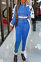 Peacock Blue Women Flounce Stand Collar Zipper Long Sleeve Pants Sets KXL858-2