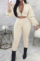 Cream Autumn Winter Casual Ruffle Sleeve Zip Front Coat Pencil Pants Sport Sets ORY5064-2