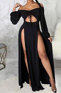Black Sexy Wholesale Off Shoulder Long Sleeve Collect Waist Slit  Strapless Dress SMR10305-2