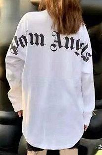 White Women Casual Back LOGO Loose Long Sleeve Autumn Winter Fleece DY1088639