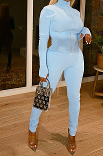 Light Blue Wholesale Sport Pure Color Long Sleeve Stand Neck Zip Tops Pencil Pants Slim Fitting Two-Piece YSH86268-2