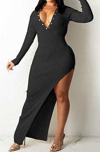 Black Ribber Sexy Long Sleeve V Neck Backless Slim Fitting Solid Color Slit Maxi Dress TRS1176-1