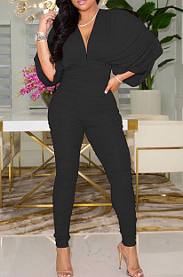 Black Newest Batwing Sleeve V Neck Ruffle Collect Waist Solid Color Bodycon Jumpsuits WY6841-3