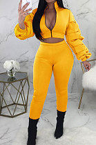 Yellow Autumn Winter Casual Ruffle Sleeve Zip Front Coat Pencil Pants Sport Sets ORY5064-3