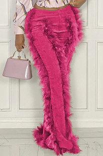Rose Red Women Autumn Winter Corduroy Rough Selvedge Mid Waist Solid Color Flare Leg Pants MLM9078-4