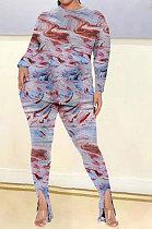 Tie Dye Women Autumn Winter Positioning Printing Long Sleeve Plus Pants Sets GB8035