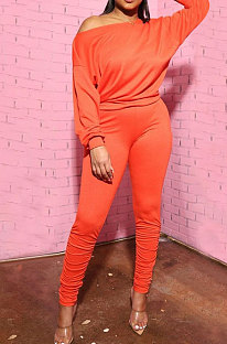 Orange Cotton Blend Pure Color Long Sleeve Loose T-Shirts Bodycon Pants Slim Fitting Sets OH8092-1
