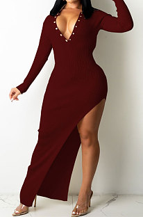 Wine Red Ribber Sexy Long Sleeve V Neck Backless Slim Fitting Solid Color Slit Maxi Dress TRS1176-5