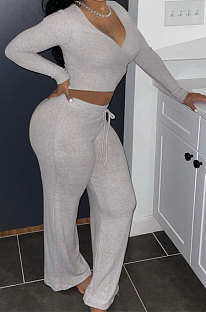 Gray Women Solid Color Long Sleeve Bodycon Tops Casual Flare Leg Pants Sets KXL856-3