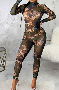 Green Sexy Mesh Print Long Sleeve V Neck Collect Waist Bodycon Jumpsuits SMR10278-3