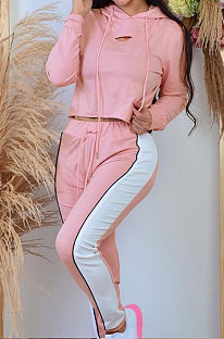 Pink Casual Sport Long Sleeve Loose Hoodie Contrast Color Sweat Pants Sets OQ027-1