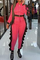 Red Women Flounce Stand Collar Zipper Long Sleeve Pants Sets KXL858-1