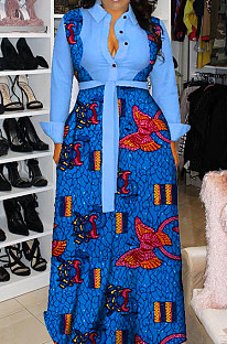 Light Blue Newest Print Long Sleeve Lepal Neck Single-Breasted With Beltband Swing Shirt Dress DMM8183-2