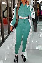 Mint Green Women Flounce Stand Collar Zipper Long Sleeve Pants Sets KXL858-3