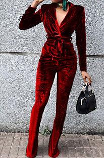 Red Wholesale Velvet Long Sleeve Lapel Neck Suits Coat Flare Pants Sets TRS1182-4