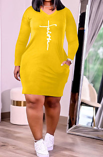 Yellow Euramerican Autumn Winter Trendy Women Loose Pure Color Printing Pocket Plus Mini Dress PH13253-3