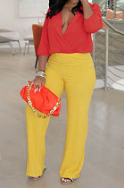 Red+Yellow Wholesale Women Half Sleeve V Collar Loose Blouse Wide Leg Pants Casual Sets ORY5209
