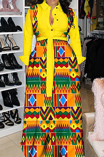 Yellow Newest Print Long Sleeve Lepal Neck Single-Breasted With Beltband Swing Shirt Dress DMM8183-4
