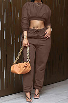 Coffee Women Trendy Casual Solid Color Crop Bodycon Pants Sets AMW8336-3
