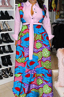 Pink Newest Print Long Sleeve Lepal Neck Single-Breasted With Beltband Swing Shirt Dress DMM8183-5