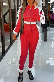 Red White Edge Women Flounce Stand Collar Zipper Long Sleeve Pants Sets KXL858-4