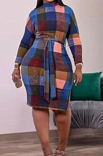 Blue Newest Plaid Print Long Sleeve High Neck Slim Fitting With Beltband  Slit Dress TK6147-1