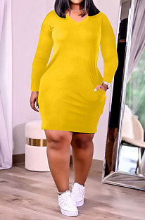 Yellow Women Fashion Loose Solid Color Round Collar Mid Waist Plus Mini Dress PH13252-3
