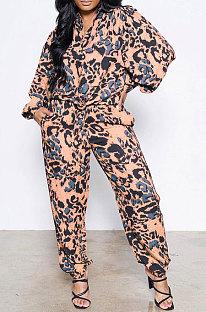 Orange Women Snakeskin Camo Shirts Printing Pants Sets AD0915-2