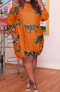 Orange Women Printing Loose Waist Pullover Long Sleeve Mini Dress GB8032