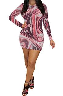 Rose Red Euramerican Women Autumn Winter Trendy Long Sleeve Backless Round Collar Mid Waist Mini Dress GB8033-2