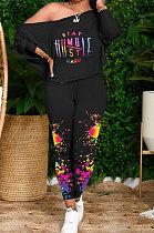 Black Women Casual Oblique Shoulder Letters Splash-Ink Printing Pants Sets AMW8333