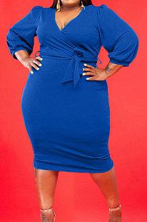 Blue Fashion Big Yards Pure Color Puff Sleeve V Neck Bandage Fat Women Dress WA77249-4