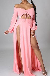 Pink Sexy Wholesale Off Shoulder Long Sleeve Collect Waist Slit  Strapless Dress SMR10305-1